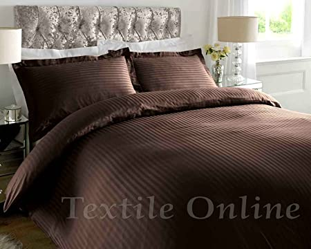 HOTEL STYLE EASY CARE POLY//COTTON PINSTRIPE DUVET COVER-EXTRA LONG