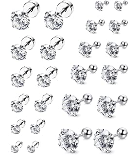 d1d550de5 ORAZIO 6-8 Pairs 18G Stainless Steel Ear Stud Piercing Barbell Studs  Earrings Round Cubic