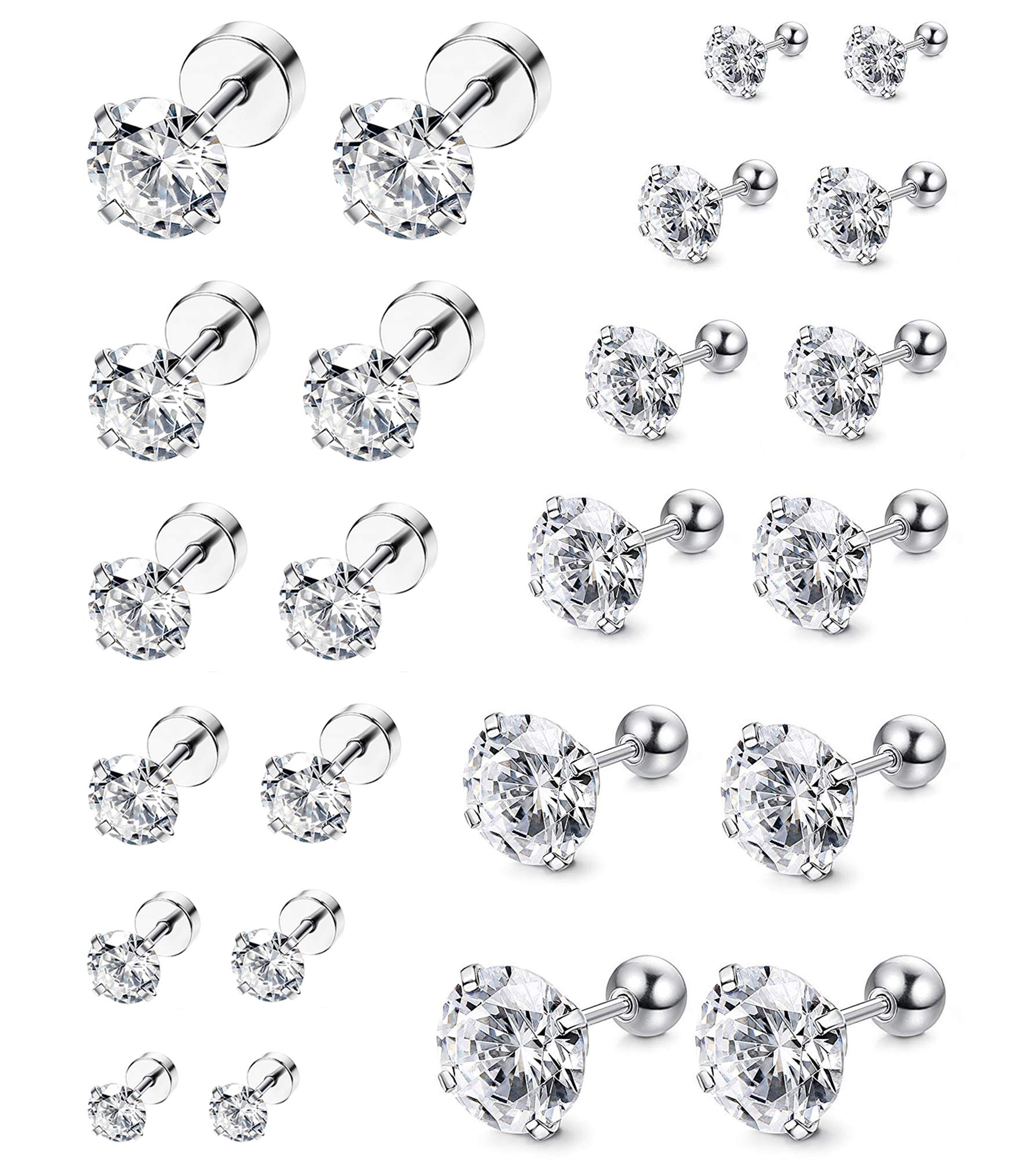 ORAZIO 12 Pairs 20G Stainless Steel Ear Stud Piercing Barbell Studs Earrings Round Cubic Zirconia Inlaid (E:12 Pairs,White 20G(0.8MM)) by ORAZIO