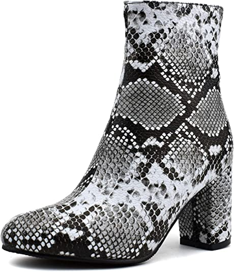 High Heel Ankle Booties For Women Snakeskin Boots Zip Up Party Dress Shoes