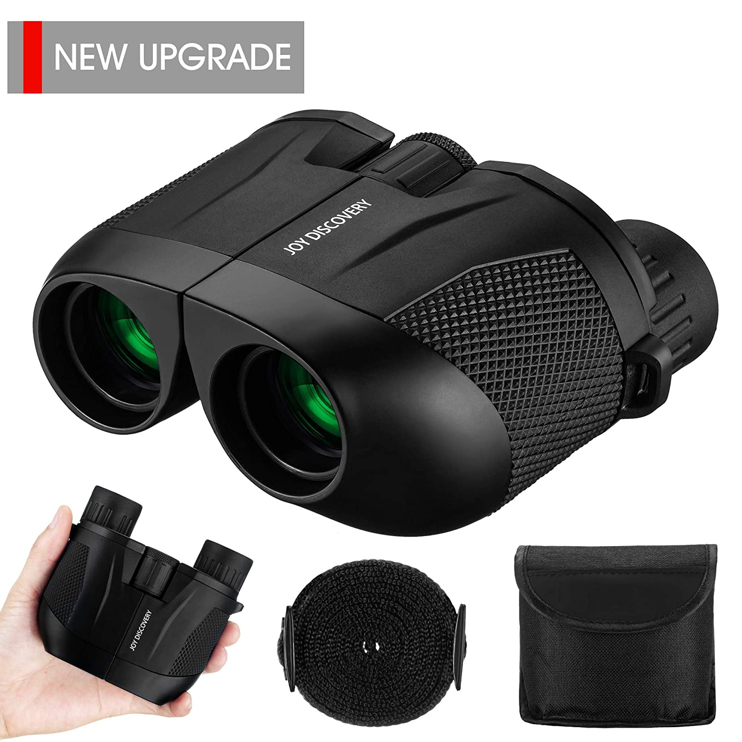 Compact Binoculars 10X25 HD Small Binoculars Palm-Sized Lightweight Easy Focus for Outdoor Hunting Travel Birding Hiking Compact Binoculars Fit for Adults and Kids by Joy Discovery