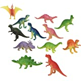 "12 Mini Dinosaur Figures Hard Plastic- 2""-3"" - Colors May Vary"