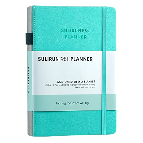 Daily/Weekly/Monthly Planner with Pen Loop Digit Sticker and Wish List/Review/Weekly Summary Journal 1 Year Undated Schedule Agenda Planner 120 GSM ...