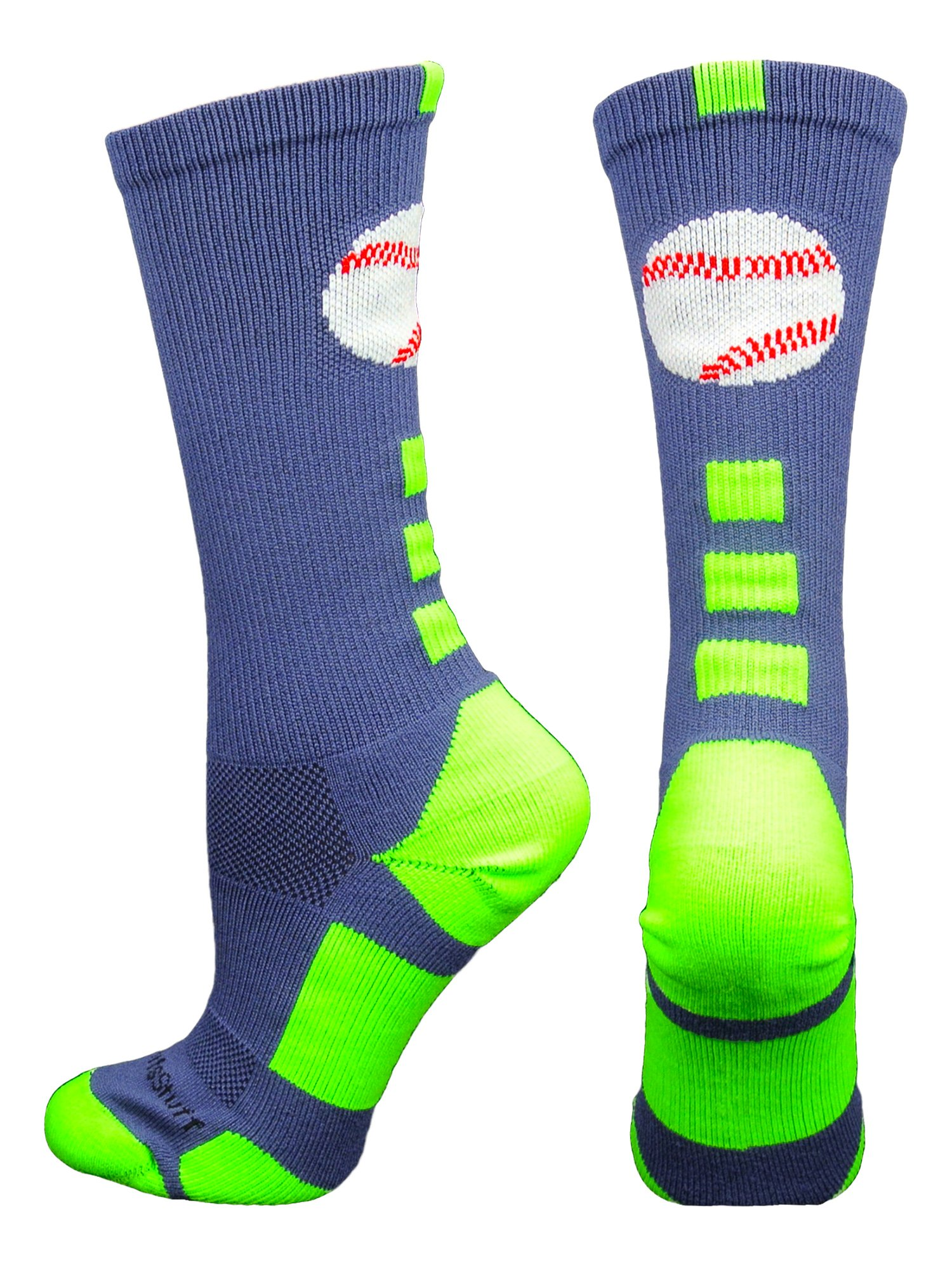 MadSportsStuff Baseball Logo Crew Socks (Navy/Neon Green, Medium) by MadSportsStuff
