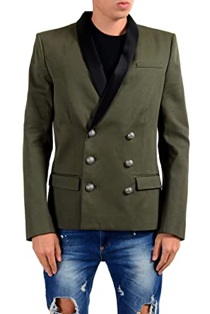 d6c3f6c98e8 Image Unavailable. Image not available for. Color: Balmain Men's Dark Green  Double Breasted Blazer ...