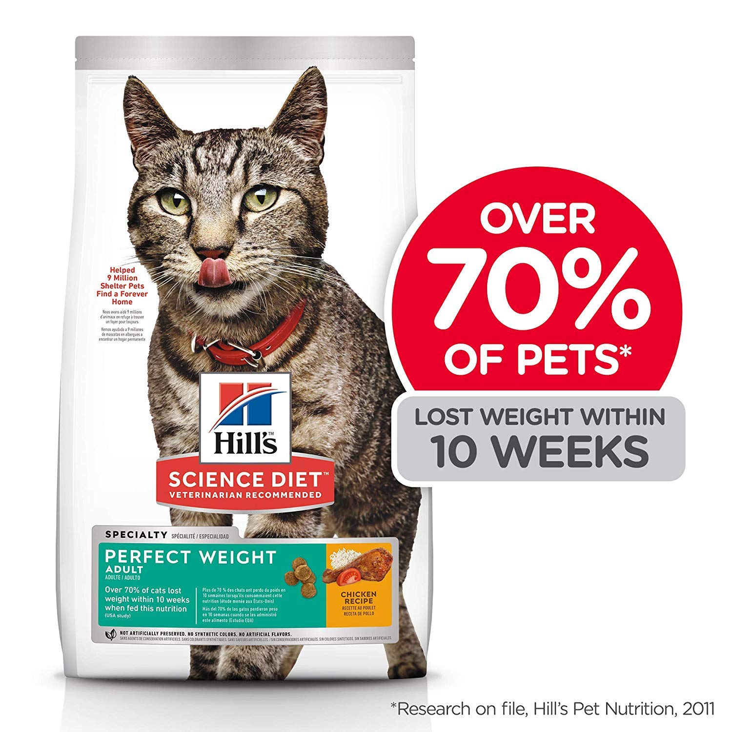 Hills Science Diet Dry Cat Food, Adult, Perfect Weight for Weight Management, Chicken Recipe