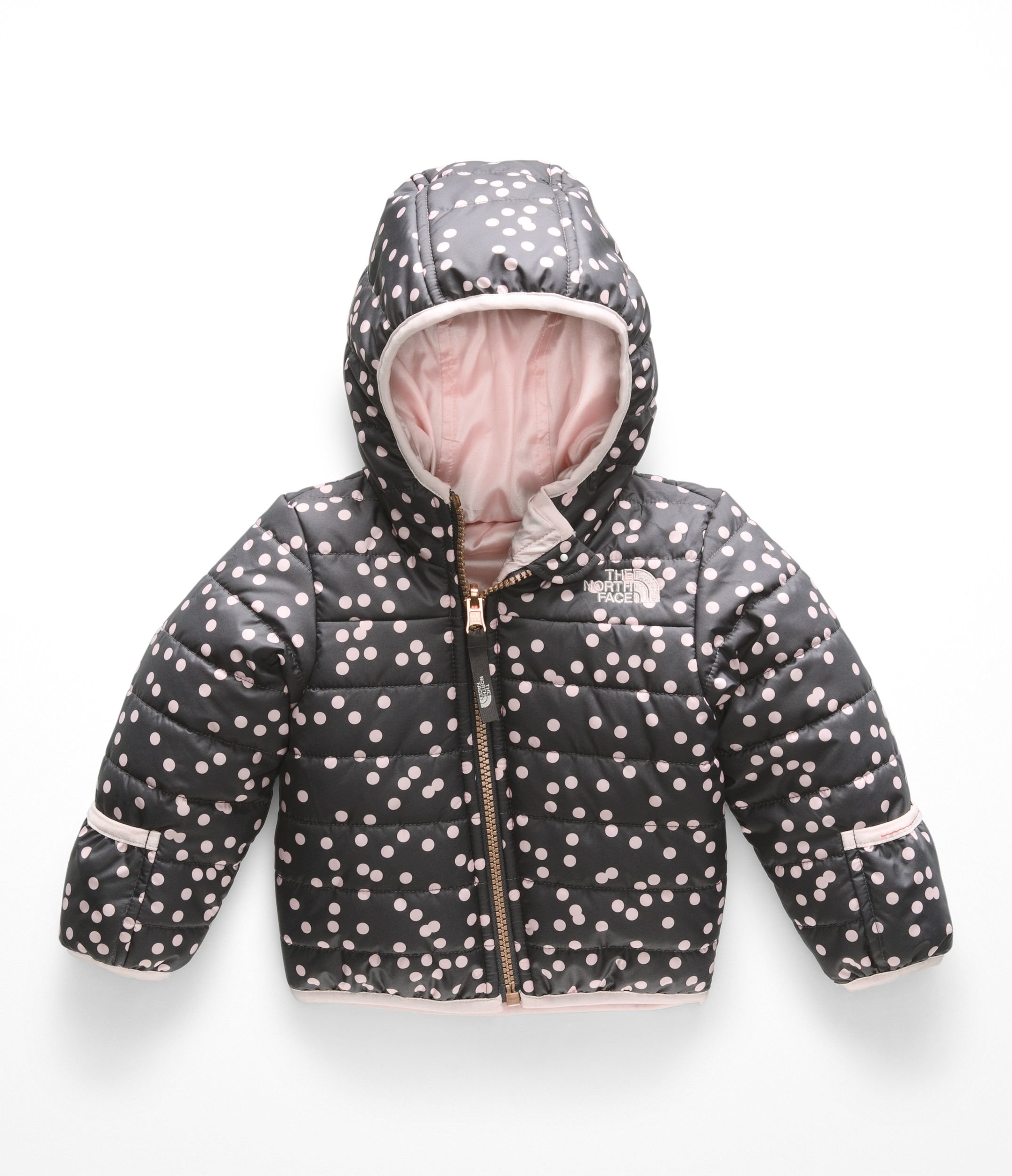 The North Face Kids Unisex Reversible Perrito Jacket (Infant) Periscope Grey Confetti Print 6-12 Months by The North Face