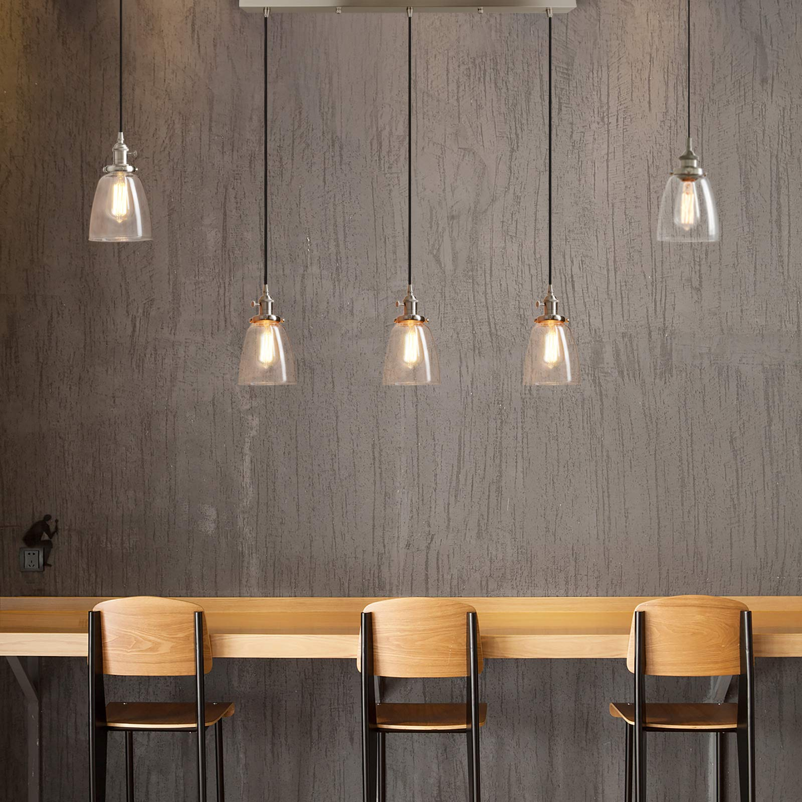 Pathson Industrial 3-Light Pendant Lighting Kitchen Island Hanging Lamps with Oval Clear Glass Shade Chandelier Ceiling Light Fixture (Brushed Steel) by Pathson (Image #3)