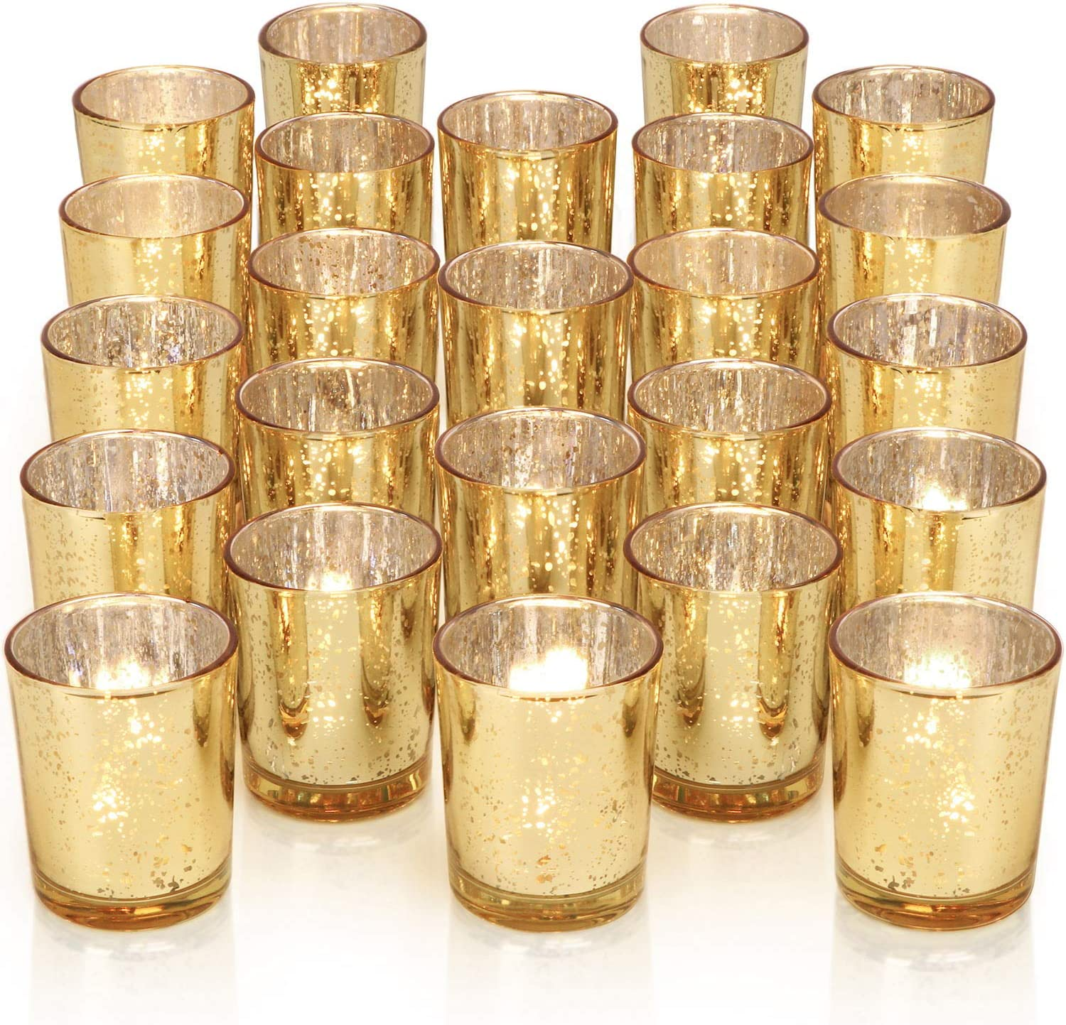 DARJEN 24Pcs Gold Votive Candle Holders for Table - Mercury Glass Votives Gold Candle Holder - Tealight Candle Holder for Wedding Centerpieces & Party Decorations