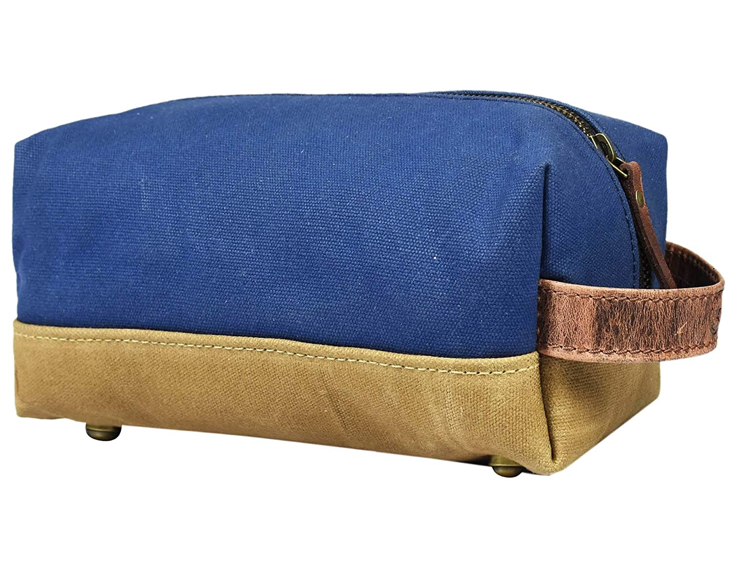 Canvas Leather Cosmetic Organizer Toiletry Bag Shaving Dopp Case by Aaron Leather Blue
