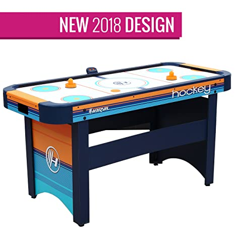 Review Harvil 5 Foot Air Hockey Table for Kids and Adults with Dual Electric Blowers, Leg Levelers and Free Pushers and Pucks.