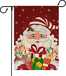 Merry Christmas Garden Flag, Santa Claus Garden Flag with Anti-Wind Clip, Christmas Yard Flags, Decorative House Flags for Outside Holiday, Winter Garden Flags Burlap Double Sided, 12.5 x 18 inches