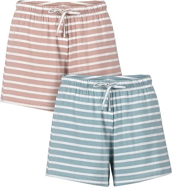 Genuwin Pantalones de Pijama para Mujer de Algodón Peinado ...
