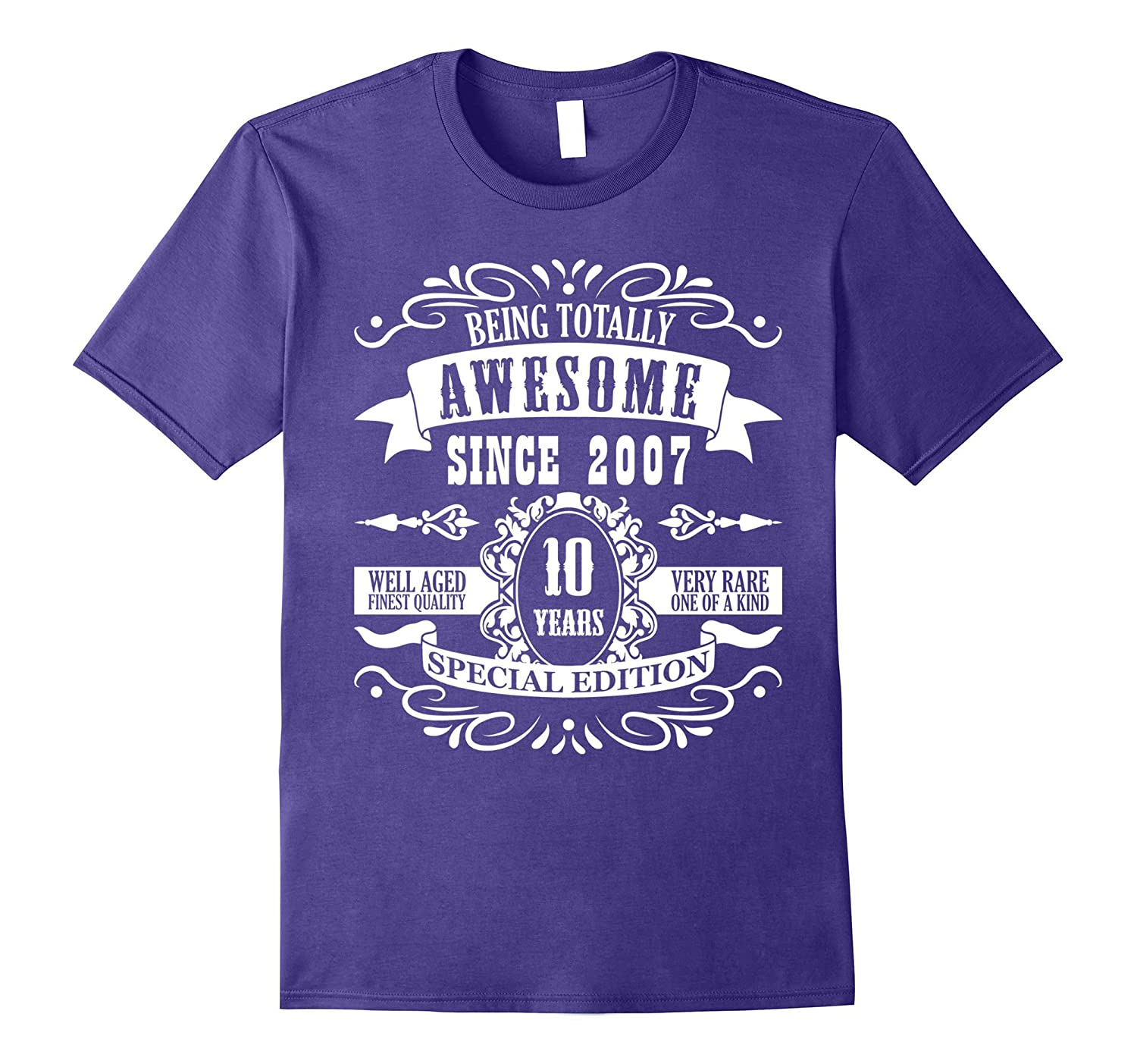 10th Birthday Gift T-Shirt Awesome Since 2007 Tee 10 yr olds-FL