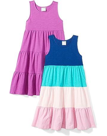 1f7061c2e282 Amazon Brand - Spotted Zebra Girls  2-Pack Knit Sleeveless Tiered Dresses