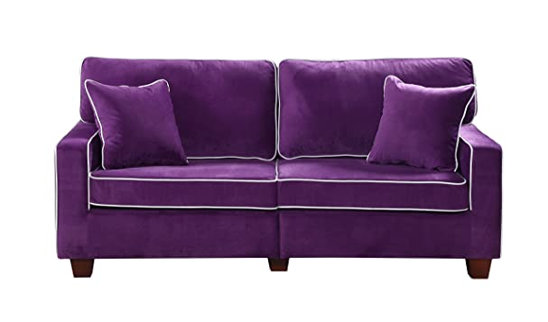 Amazon.com: Divano Roma Furniture Collection   Modern Two Tone Velvet  Fabric Living Room Love Seat Sofa   Various Colors (Purple): Kitchen U0026  Dining
