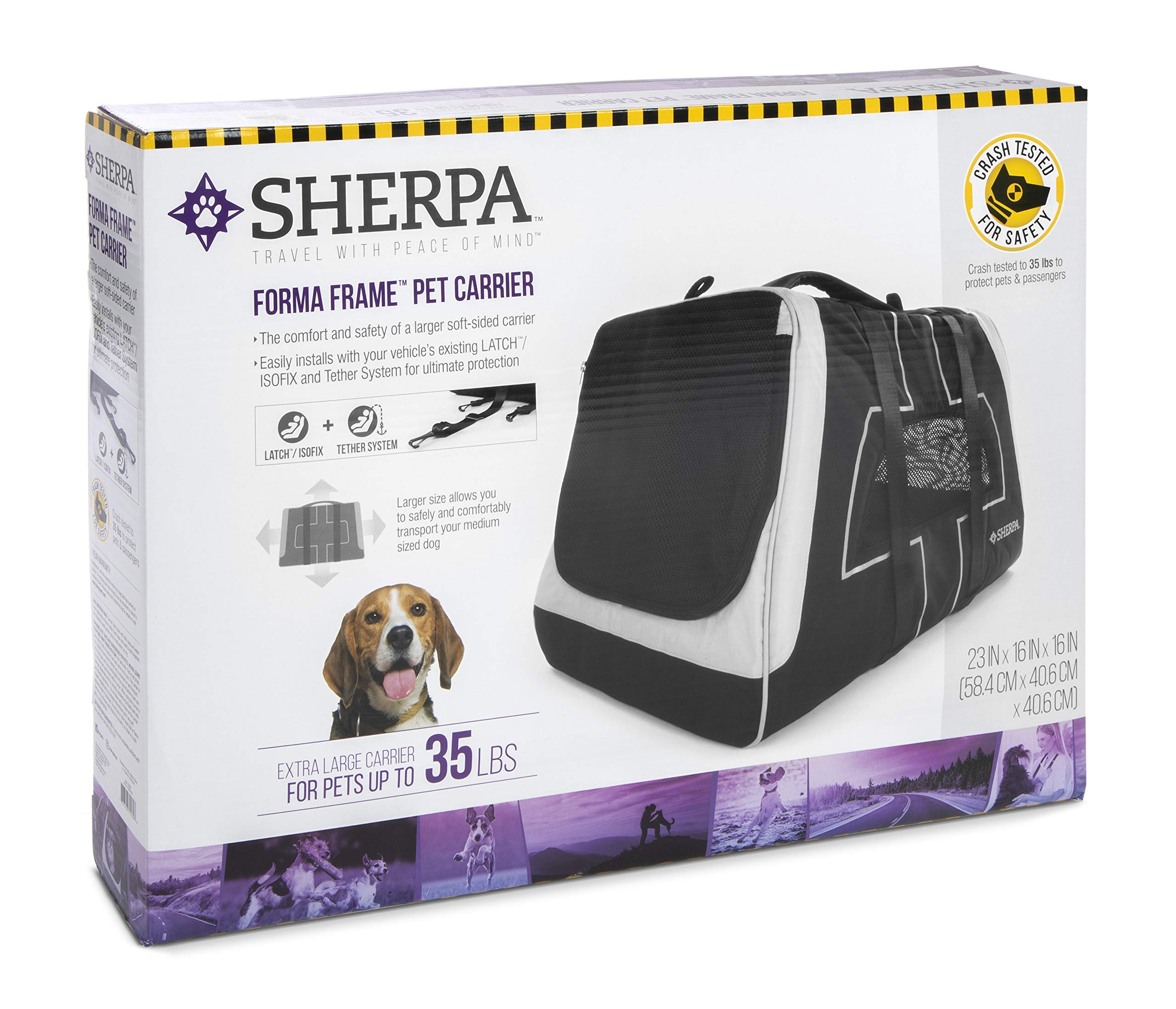 Sherpa Forma Frame Airline Approved Crash Tested Pet Carrier, Black, X-Large by Sherpa
