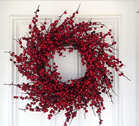 Red Spiral Berry Wreath 24 Amazon Co Uk Kitchen Home