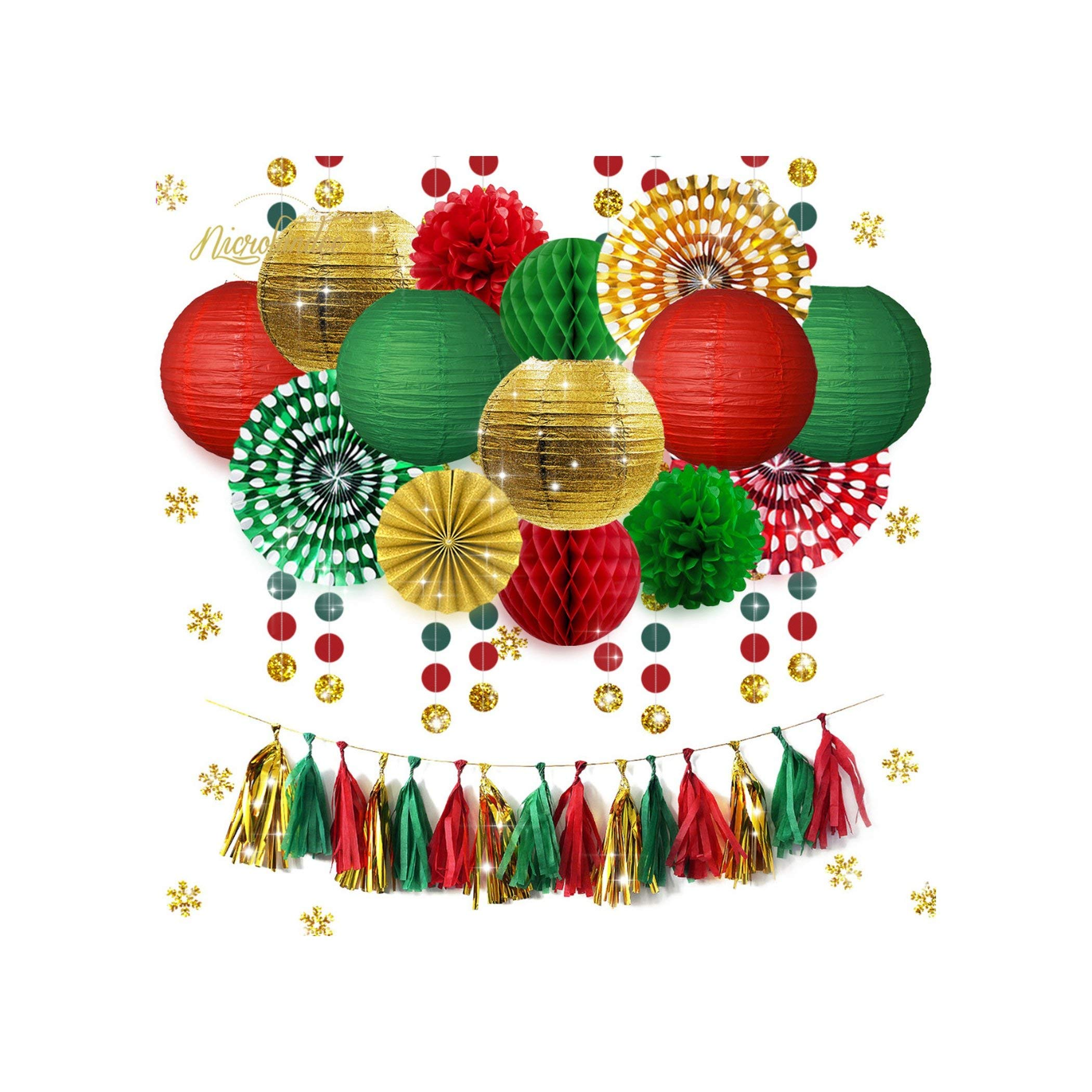 31 pcs/Set Gold Green Red Paper Lanterns Fans Flowers Tissue Tassel Garland Confetti Birthday Party Decoration DIY