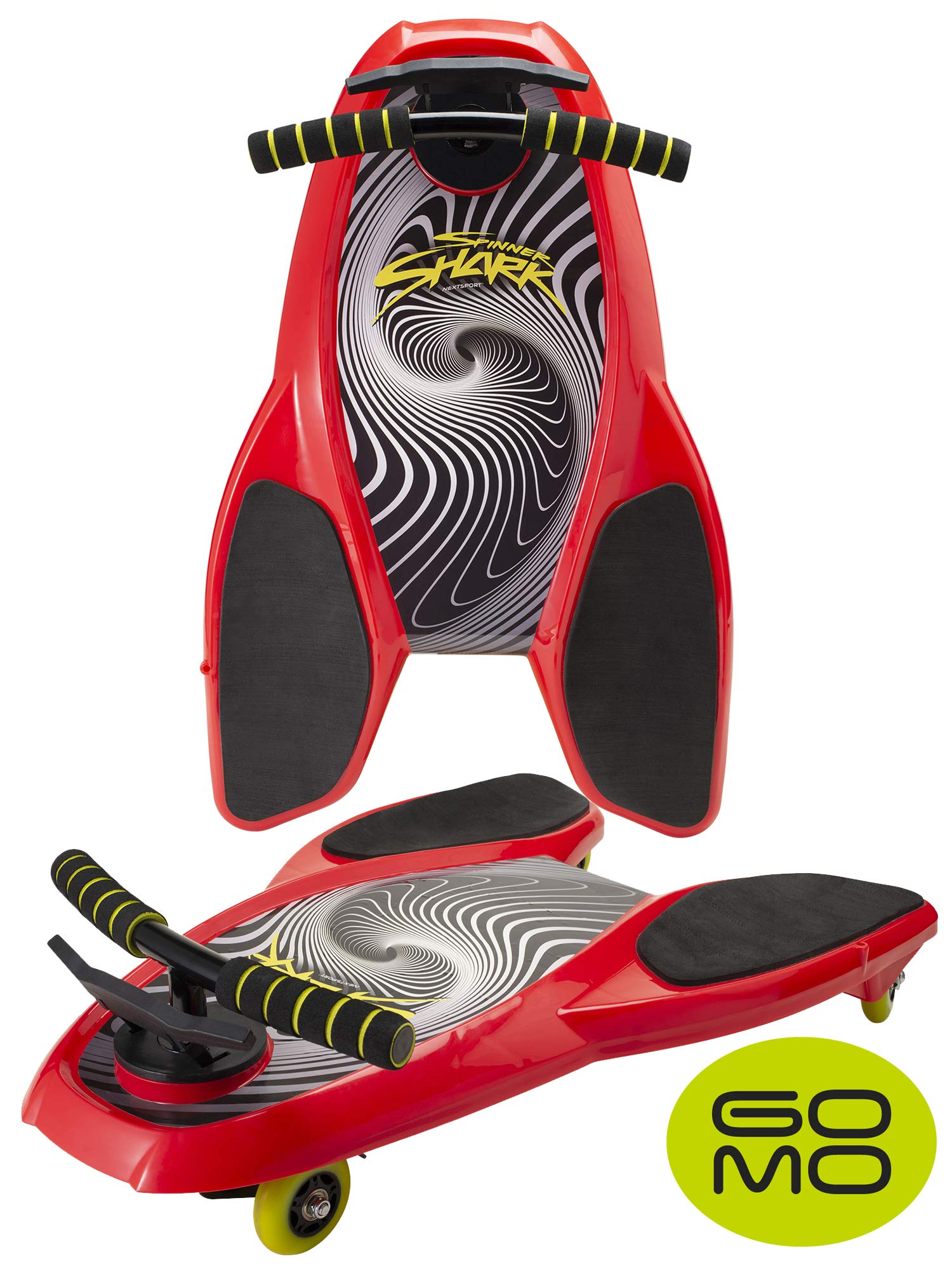 GOMO Spinner Shark Drifting Kneeboard - Scooter Board with Casters for Kids (Red - 1pc) by GOMO