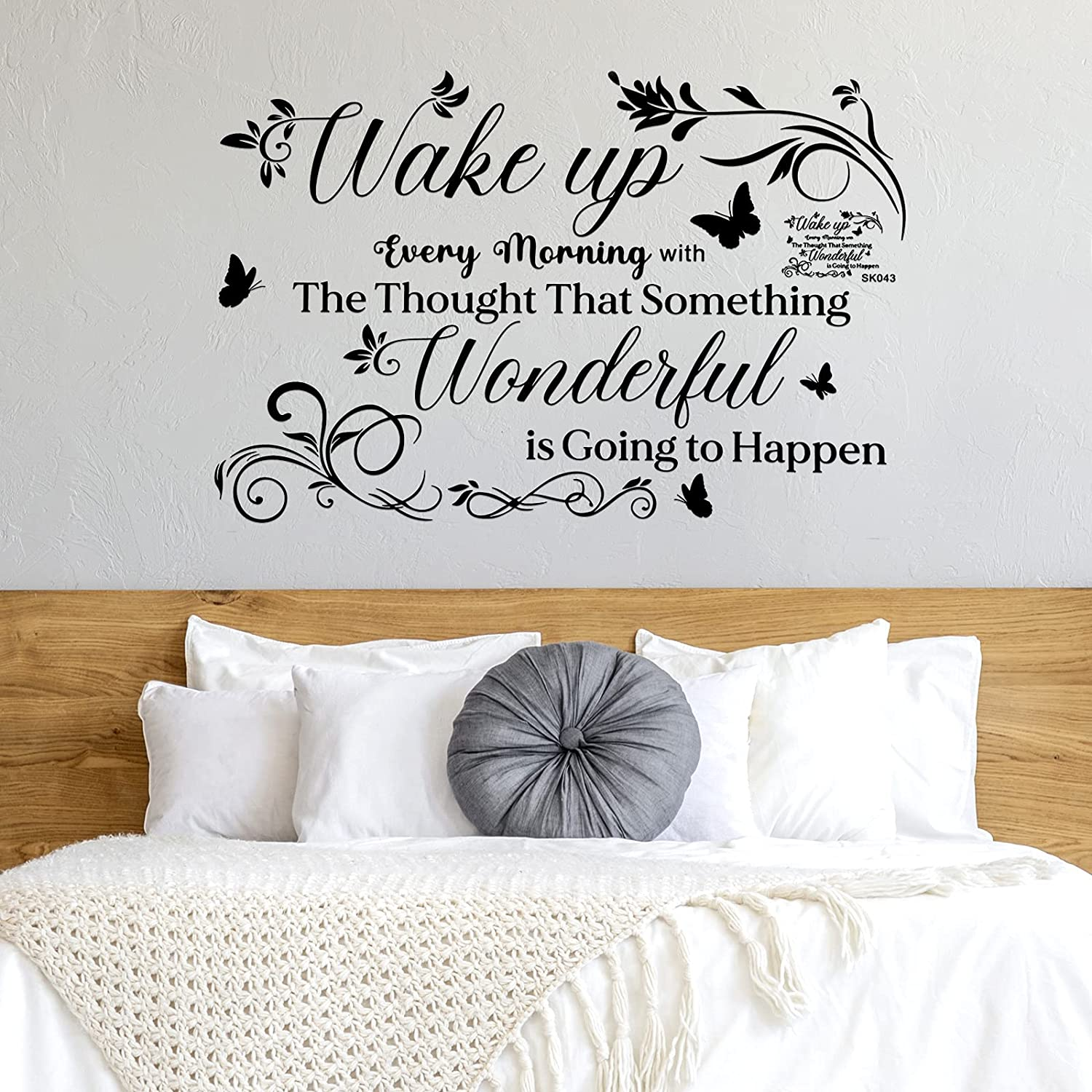 Inspirational Wall Decals for Bedroom Vinyl Letter Wall Sticker Motivational Saying Quotes Wake up Every Morning with The Thought That Something Wonderful is Going to Happen for Kitchen Home Decor