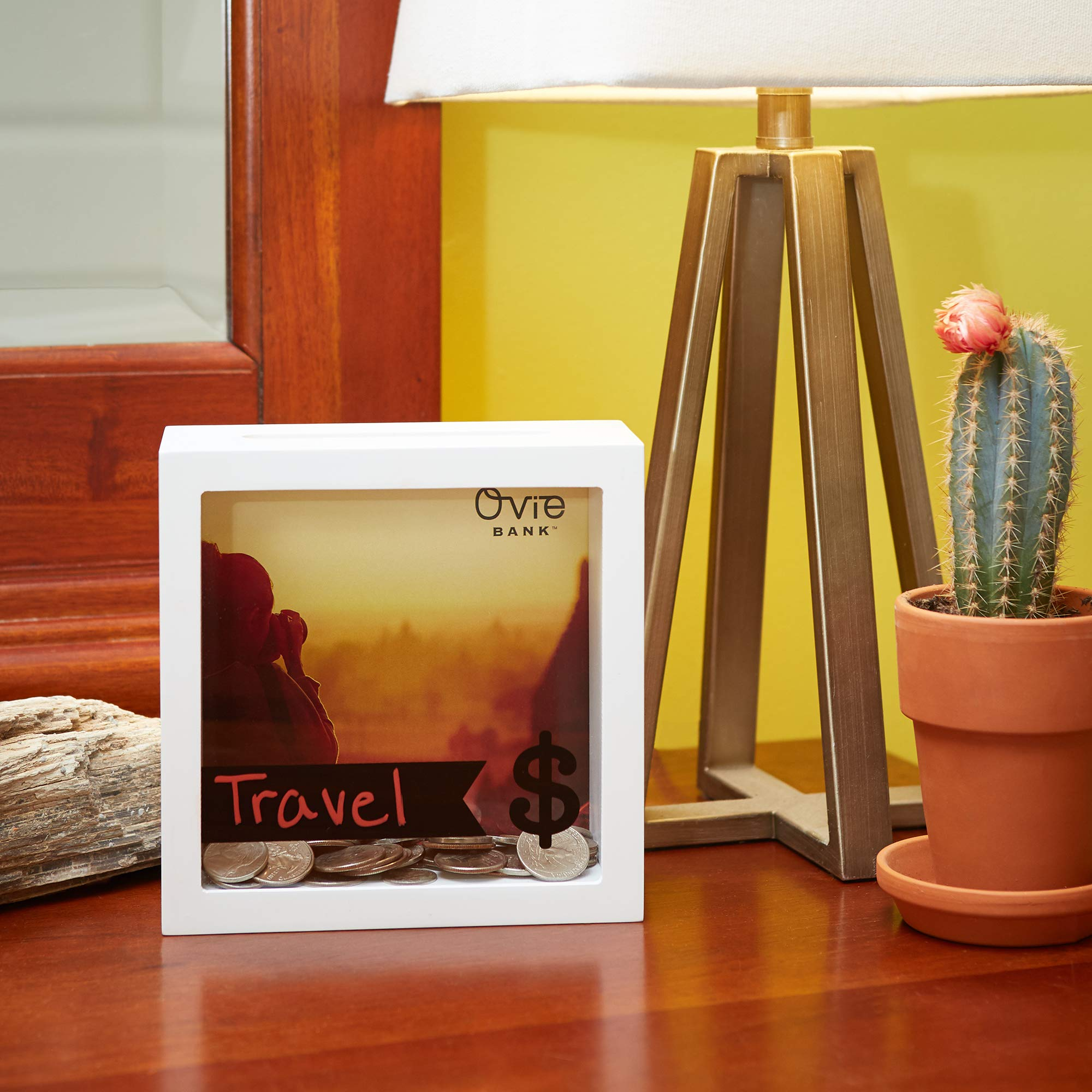 OVIE Adult Piggy Bank $ - Shadow Box with Wood Frame - Keep in Kitchen to Track Vacation/Honeymoon/Wedding/Adventure Funds - 6X6 Frames - Clear Glass/Picture Background/Colored Markers by OVIE (Image #8)