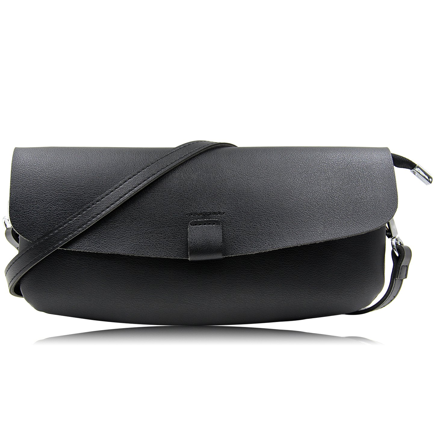 Oversized Faux Leather Clutches Women Casual Envelope Evening Clutch Bag Purses And Handbags With Wristlet And Shoulder Strap (Black)