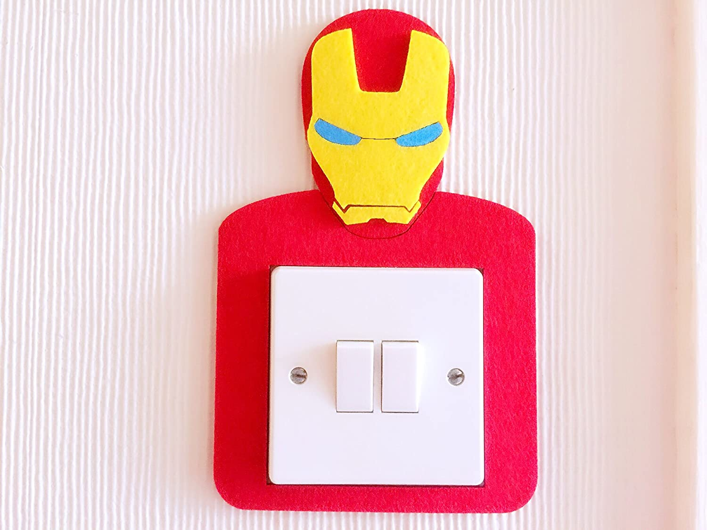 Super Cool 3d Superheroes Light Switch Wall Stickers Marvel Boys Batman Avengers Iron Man Captain Of America Hulk Thor