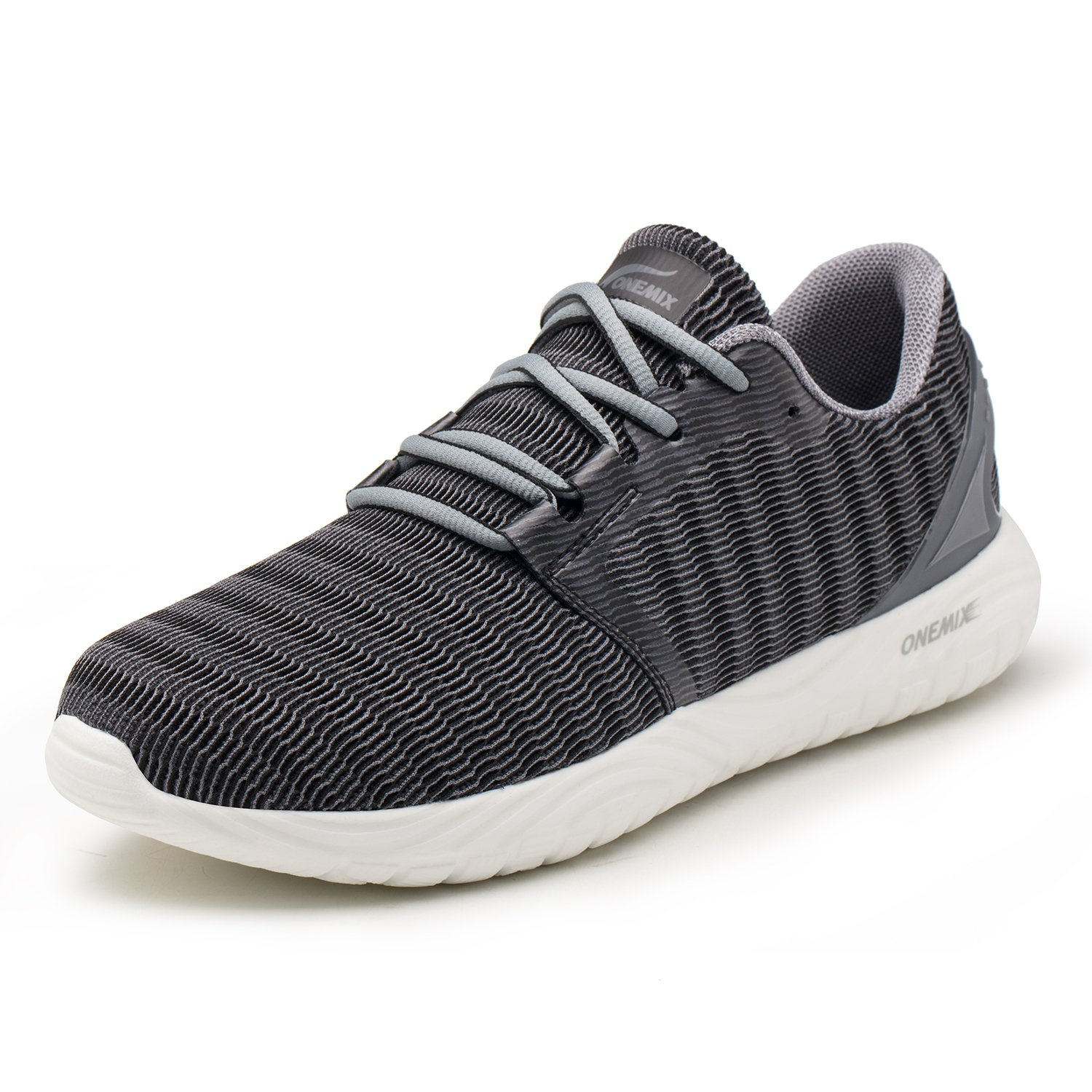 ONEMIX Baskets Mode Chaussures de Sport Homme Running Lé ger Respirantes Course Sneakers Multisports Outdoor Casual Gris Noir 45