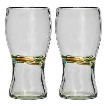 Vaso Cervecero (Pinta) Artesanal – Vidrio Reciclado – Raya multicolor – Juego de 2