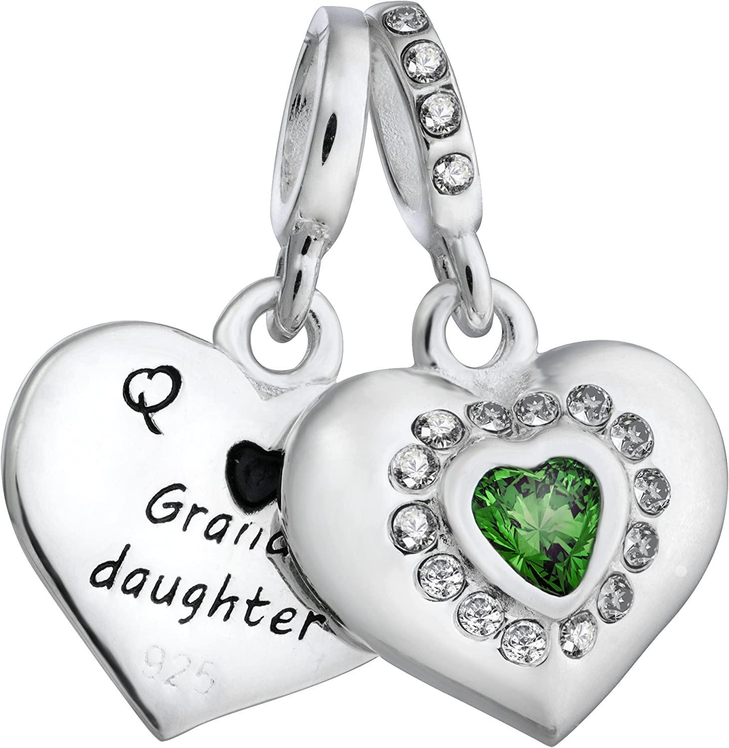 Qina Chicago Mall C. 925 Sterling Silver Family Heart CZ Bead Love It is very popular for Dangle