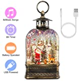 Snow Globe Lantern, Christmas Musical Water Lantern Decorative Glitter Santa Lantern for Kids' Gift, Christmas Collectibles, Home Decoration, USB & Battery Operated, 8 Music Loops, Auto On/Off, Brown