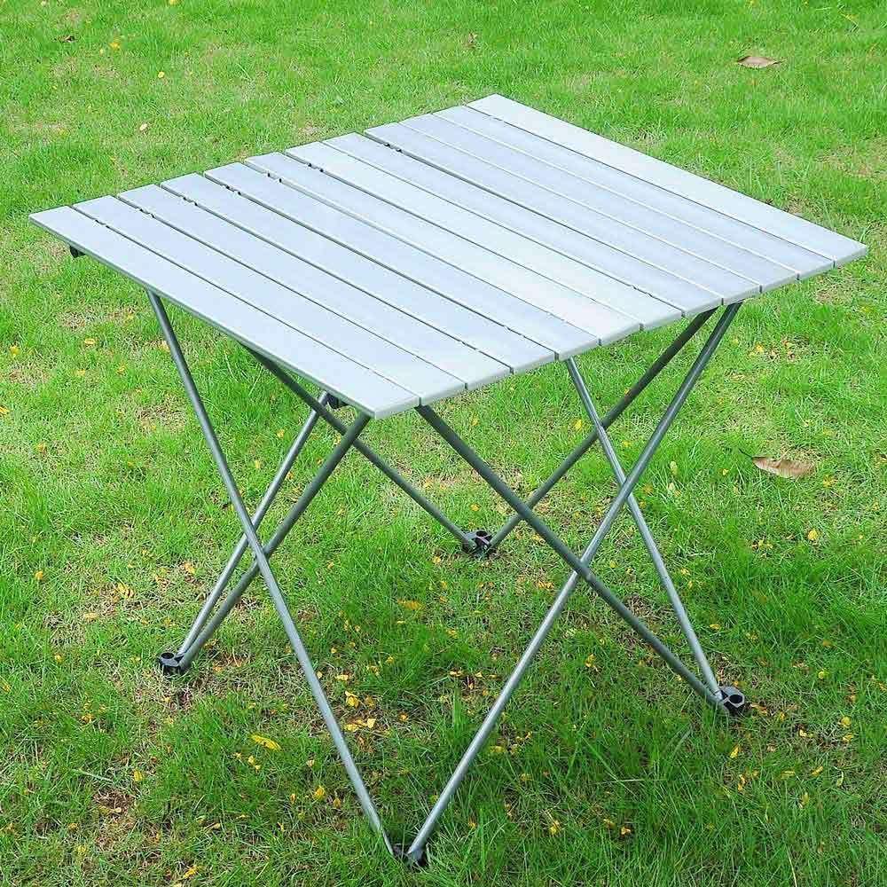 アルミロールアップテーブル 折りたたみ式 キャンプ アウトドア インドア ピクニック バッグ付き 頑丈   B077VHNR76