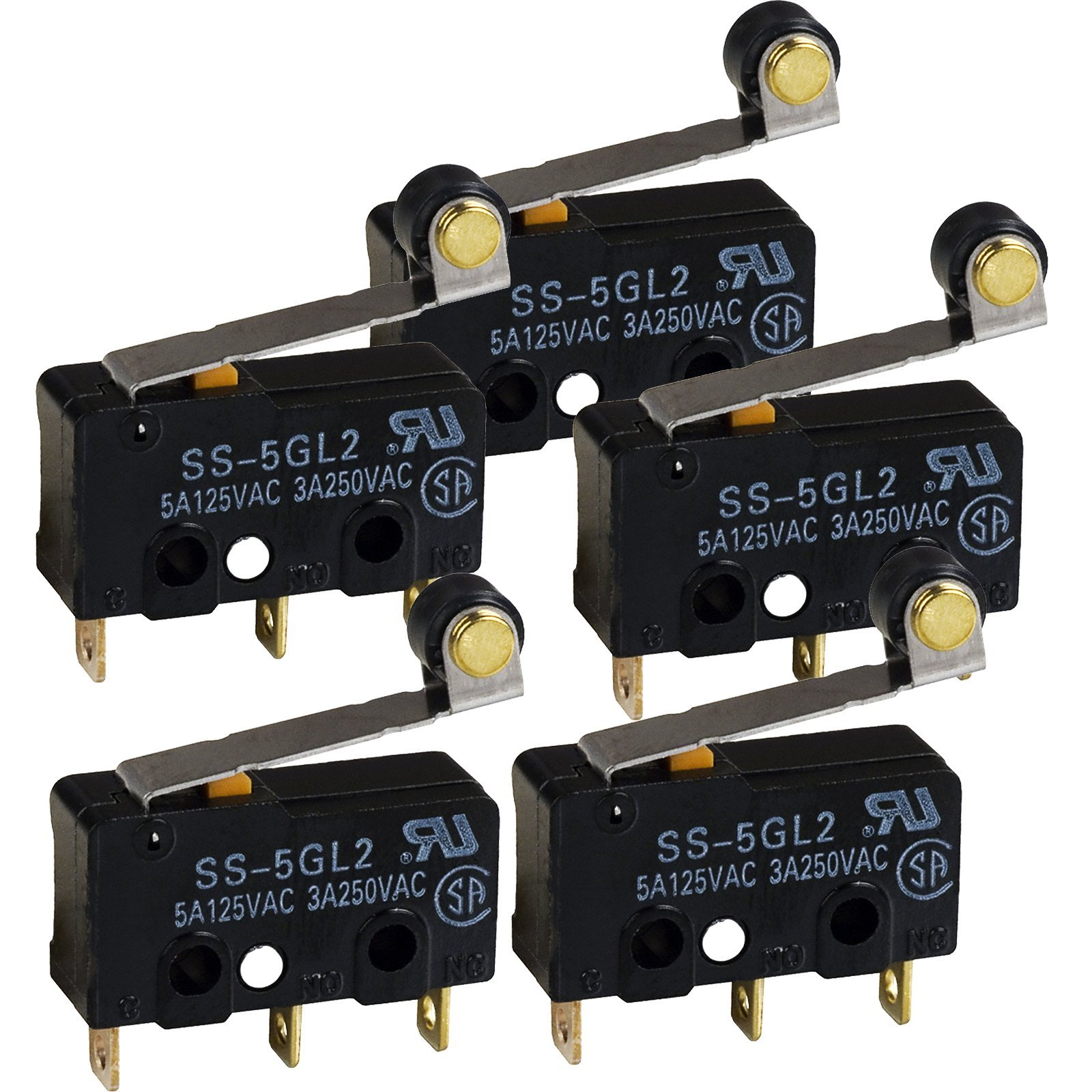 Omron SS5GL2 Microswitch 125 VAC, 5A Micro Limit Switch, Hinge Roller Momentary Snap Action (Pack of 5)
