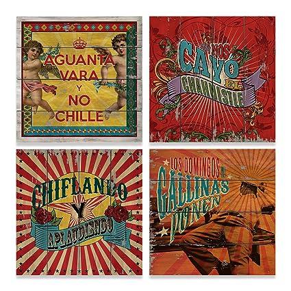 Set de cuadros decorativos vintage con frases mexicanas.: Amazon.com ...