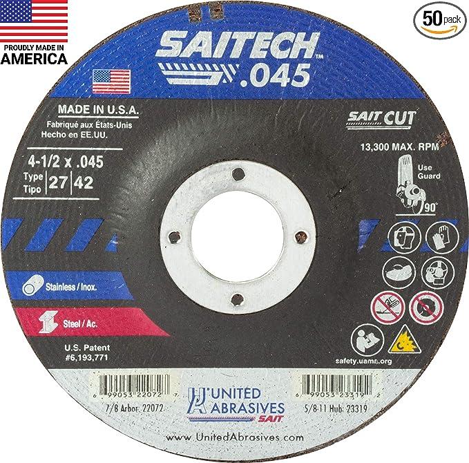 """SAIT Cutting Wheel A60S BF Type 27 4-1//2"""" x .045"""" 7//8/"""" Arbor Cut Off Wheel QTY 2"""