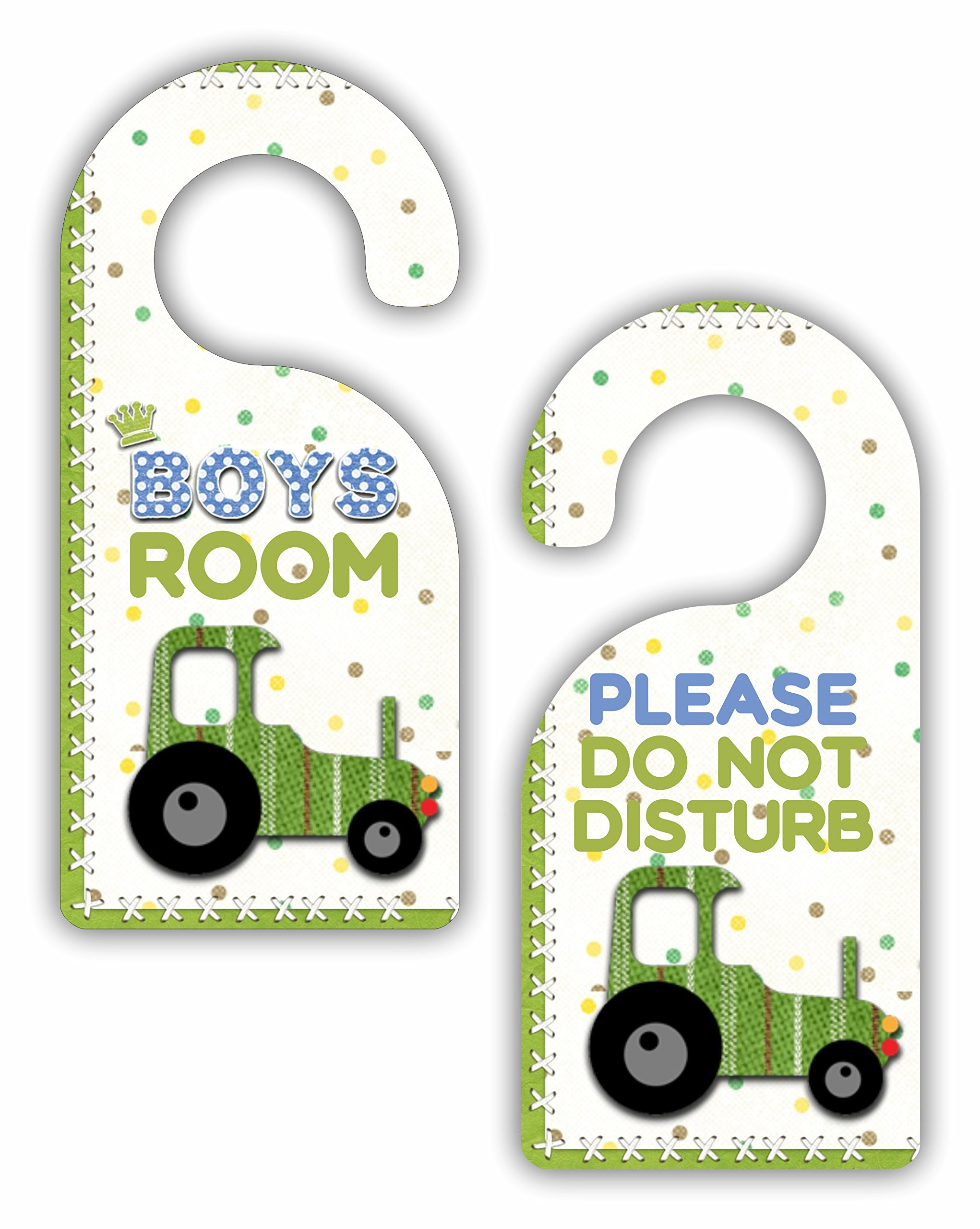 Boys Room - Please Do Not Disturb - Truck - Bedroom Door Sign Hanger - Double Sided - Hard Plastic - Glossy Finish