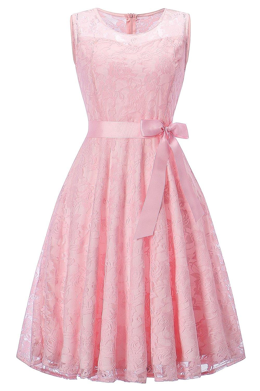 2e692fe133 MisShow Women s Floral Lace Short Bridesmaid Dress Prom Cocktail Party Dress (Pink
