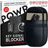 POWR 2 x Signal Blocking Pouch for Car Keys | Keyless Car Key Signal Blocker | Anti Theft Fob Protector Pouch | Faraday Bag Key Guard | Blocks RFID/WiFi/GSM/LTE | Universal Protection