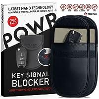 POWR 2 x Signal Blocking Pouch for Car Keys | Keyless Car Key Signal Blocker | Anti Theft Fob Protector Pouch | Faraday Bag Key Guard | Blocks RFID/WiFi / GSM/LTE | Universal Protection