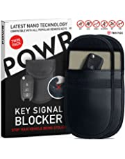 POWR 2 X RFID Signal Blocking Pouches Anti-Theft Faraday Bag Protector for Keyless Car Key fobs | Blocks RFID/WiFi/GSM/LTE