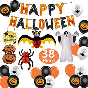 JumDaQ Halloween Party Decorations Supplies, Happy Halloween Balloons Banners Pumpkin Hanging Decoration Paper Ghost Bat Spider Pumpkin Latex Balloons for Halloween Bar Home Party 38Pieces