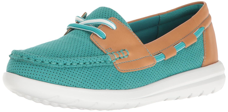 CLARKS Women's Jocolin Vista Boat Shoe B01IEBXE9A 12 B(M) US Turquoise Perforated Microfiber