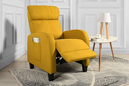 Living Room Slim Manual Recliner Chair Yellow