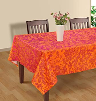Marvelous Pink And Orange Modern Floral Square Tablecloth   60 X 60 Inch Polysateen  Digitally Printed Table