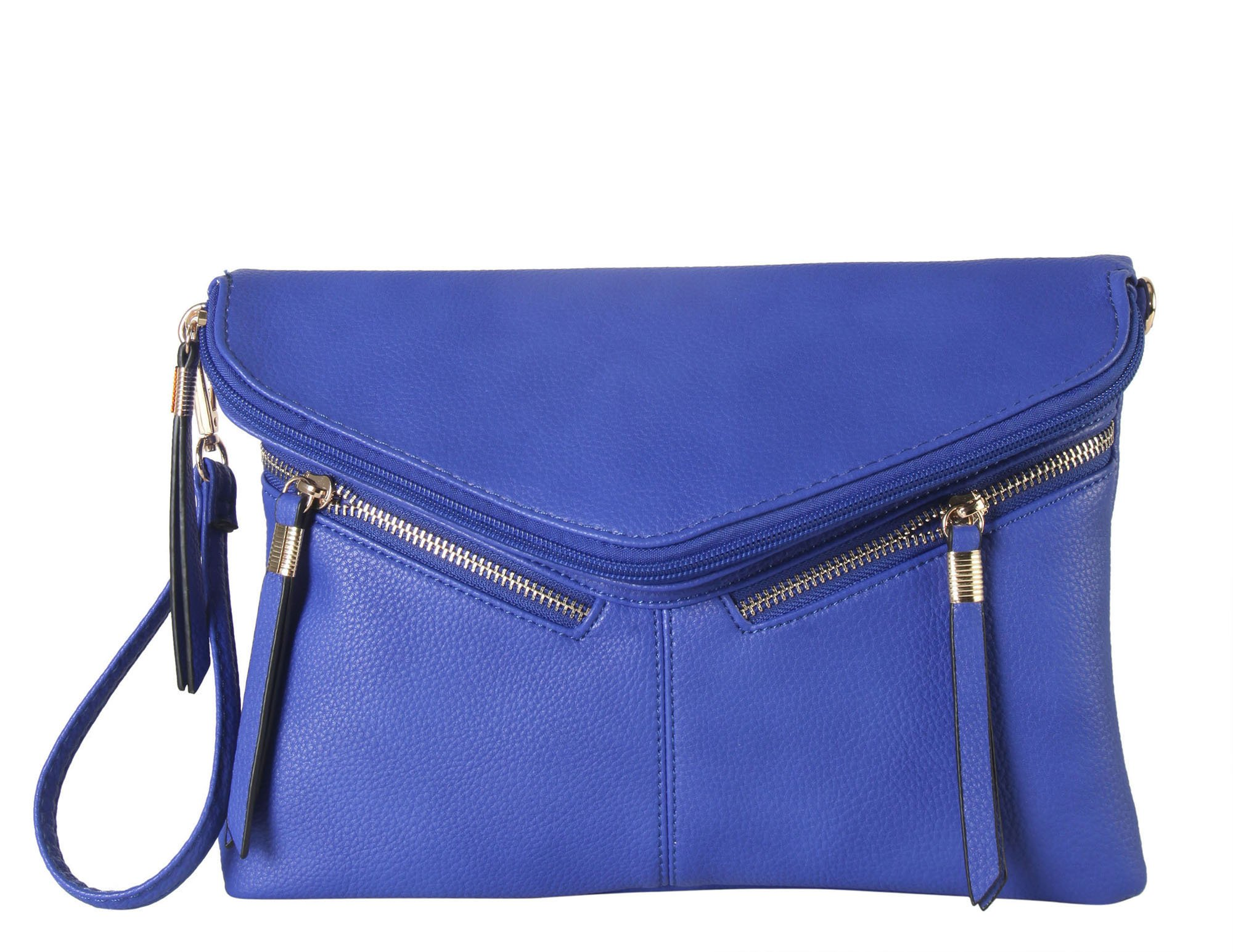 Diophy PU Leather Front Double Zipper Décor Bifold Clutch Accented with Removable Wristlet Strap Womens Purse Handbag SD-6027