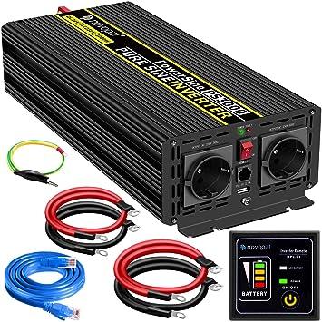 Max 8000W 2 Prises AC et Affichage /à LED,12V USB Port Onduleur Kymzan Convertisseur Pur Sinus 4000W Transformateur 12v//24V vers 220V 230V
