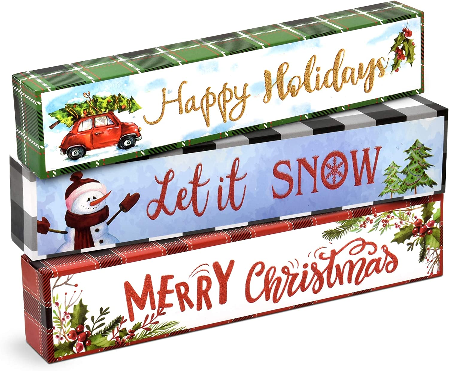 Christmas Table Decorations Set of 3 Table Topper Centerpiece for Office Desk Shelf Mantle Top Kitchen Counter Home Holiday Party Decor Snowman Winter Merry Christmas Happy Holidays Let it Snow Design