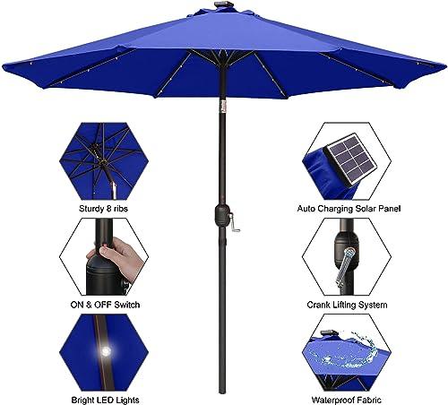 MASTERCANOPY 11ft Solar Umbrella 32 LED Lighted Patio Umbrella Table Market Umbrella