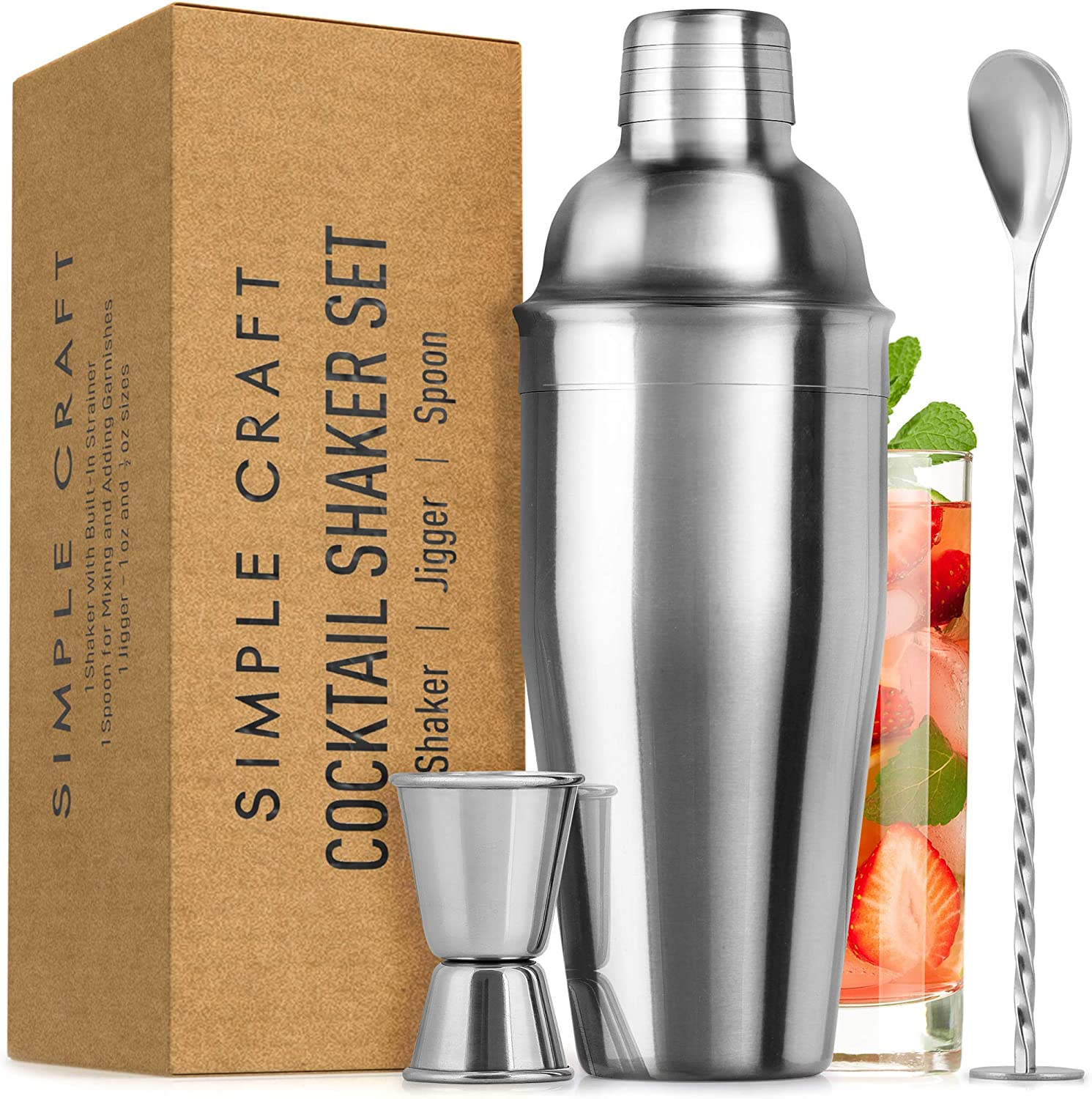 Simple Craft Cocktail Shaker Set - Stainless Steel 24oz Drink Shaker With Spoon and Jigger - Professional Grade Martini Shaker & Bar Shaker for Mixing Liquor, Chilled Drinks, and More